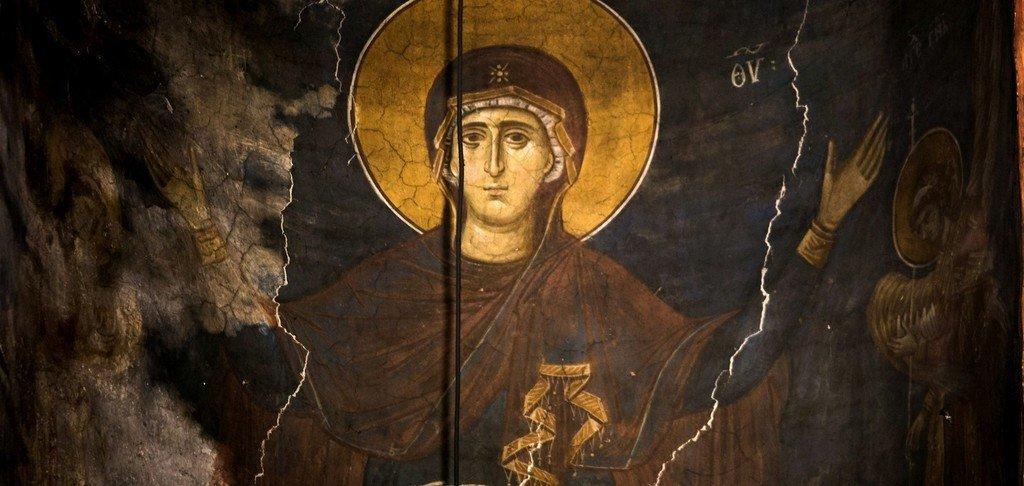 Богоматерь Оранта. Фреска монастыря Высокие Дечаны, Косово, Сербия. Около 1350 года.