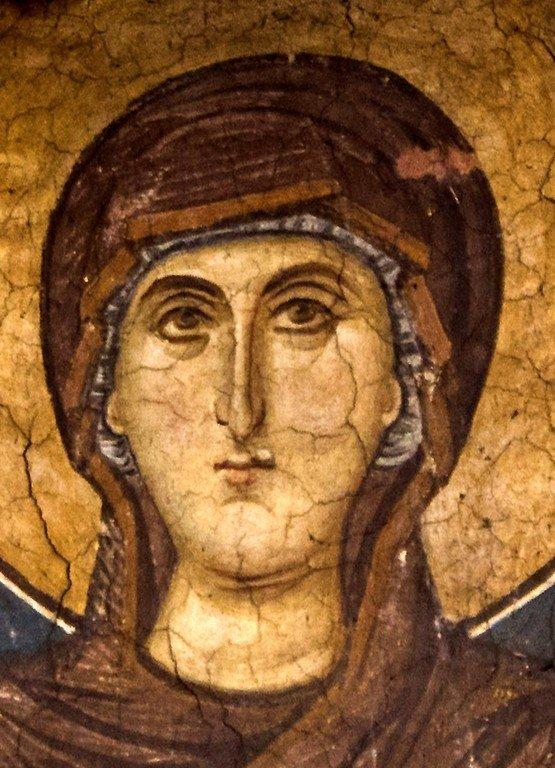 Богоматерь Оранта. Фреска монастыря Высокие Дечаны, Косово, Сербия. Около 1350 года. Лик Пресвятой Богородицы.