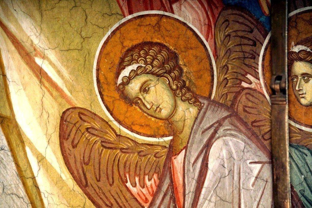 Крещение Господне. Фреска монастыря Высокие Дечаны, Косово, Сербия. Около 1350 года. Фрагмент.