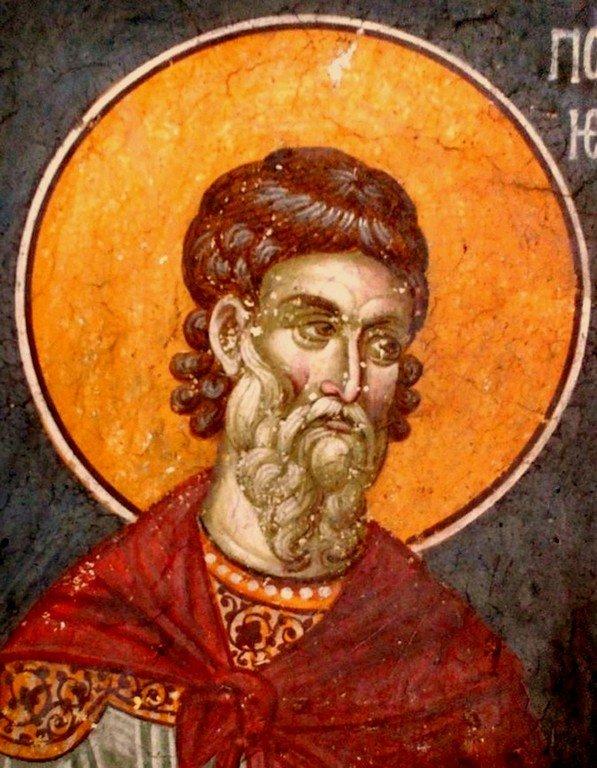 Святой Мученик Полиевкт Мелитинский. Фреска монастыря Грачаница, Косово, Сербия. Около 1320 года.