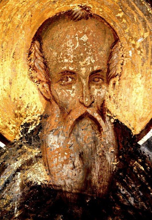 Святой Преподобный Феодосий Великий, общих житий начальник. Фреска монастыря Трескавац (Трескавец), Македония. XV век.