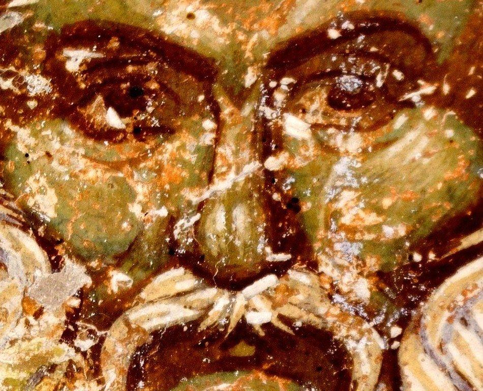 Святой Преподобный Феодосий Великий, общих житий начальник. Фреска церкви Преображения Господня в монастыре Зрзе, Македония. 1368 - 1369 годы.