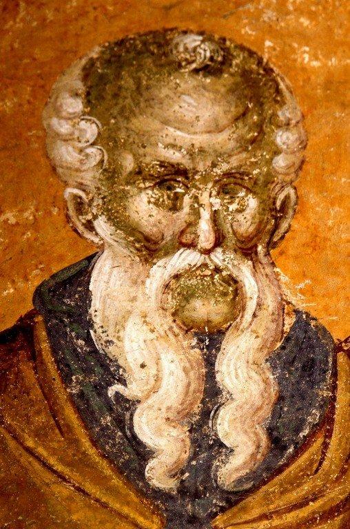 Святой Преподобный Феодосий Великий, общих житий начальник. Фреска монастыря Грачаница, Косово, Сербия. Около 1320 года.