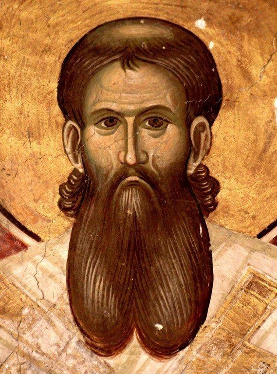 Святитель Савва, первый Архиепископ Сербский. Фреска церкви Святого Димитрия в монастыре Печская Патриархия, Косово, Сербия. 1322 - 1324 годы.