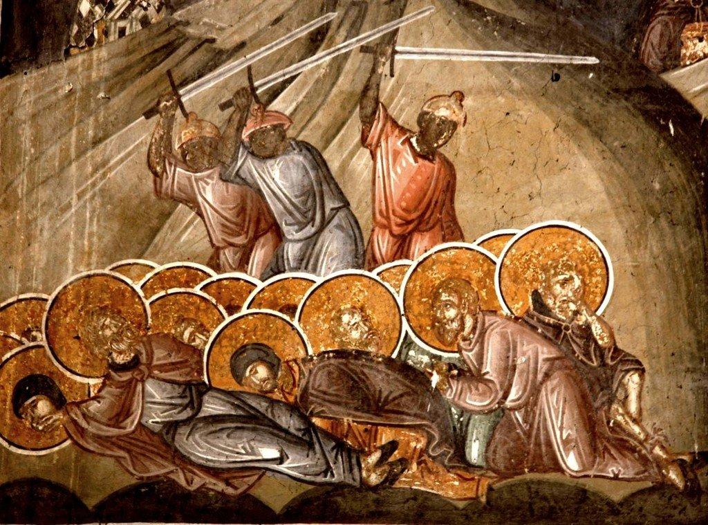 Святые Преподобные отцы, в Синае и Раифе избиенные. Фреска притвора монастыря Печская Патриархия, Косово, Сербия. XVI век.