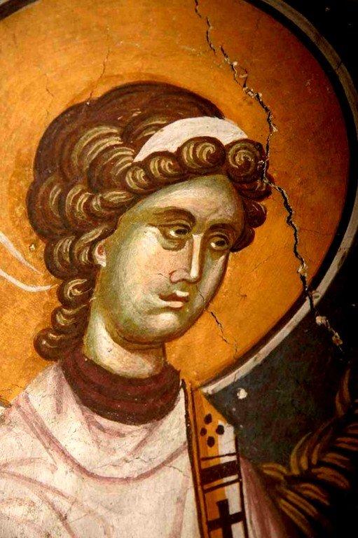 Ангел-диакон. Фреска церкви Святых Иоакима и Анны (Королевской церкви) в монастыре Студеница, Сербия. 1314 год.