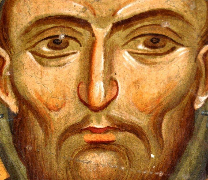 Святой Преподобный Гавриил Лесновский. Фреска Лесновского монастыря (Македония). XIV век.