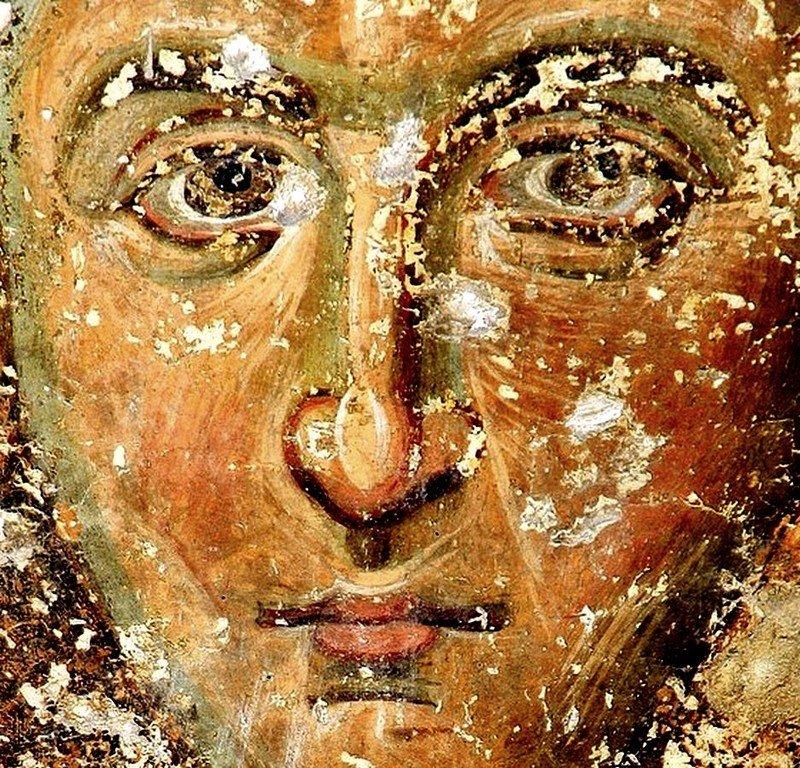 Святой Преподобный Иоанн Кущник. Фреска церкви Вознесения Господня в монастыре Милешева (Милешево), Сербия. XIII век.