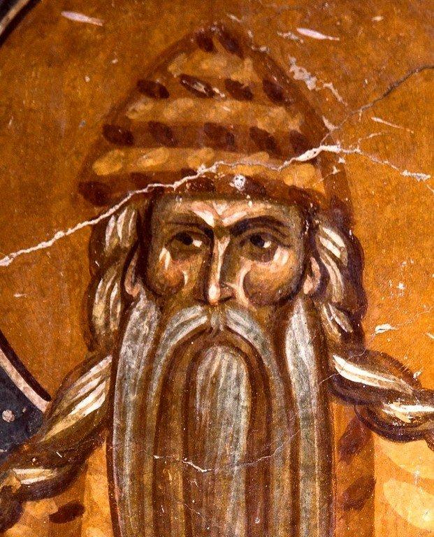 Святой Преподобный Павел Фивейский. Фреска церкви Богоматери Одигитрии в монастыре Печская Патриархия, Косово, Сербия. 1330-е годы.