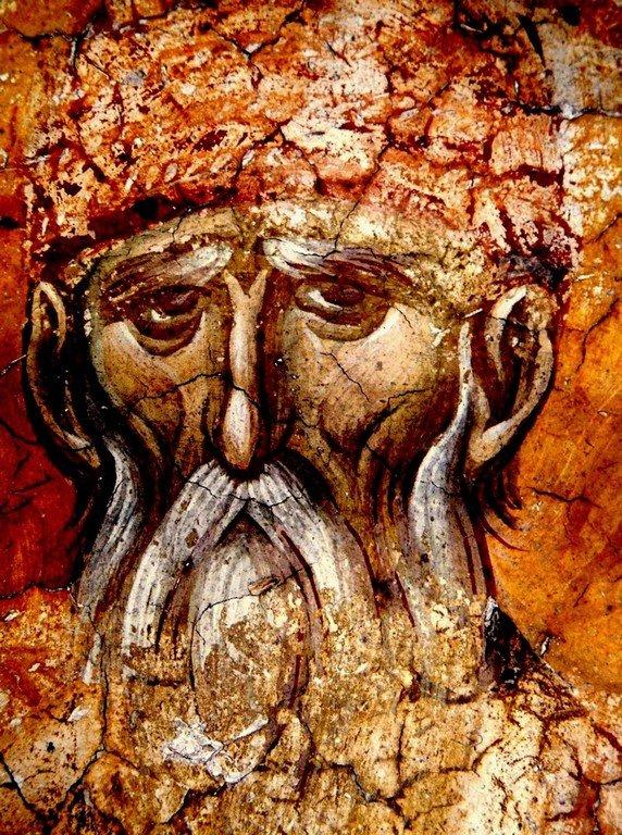 Святой Преподобный Павел Фивейский. Фреска монастыря Высокие Дечаны, Косово, Сербия. Около 1350 года.