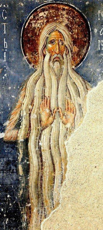 Святой Преподобный Макарий Великий. Фреска церкви Вознесения Господня в монастыре Милешева (Милешево), Сербия. XIII век.