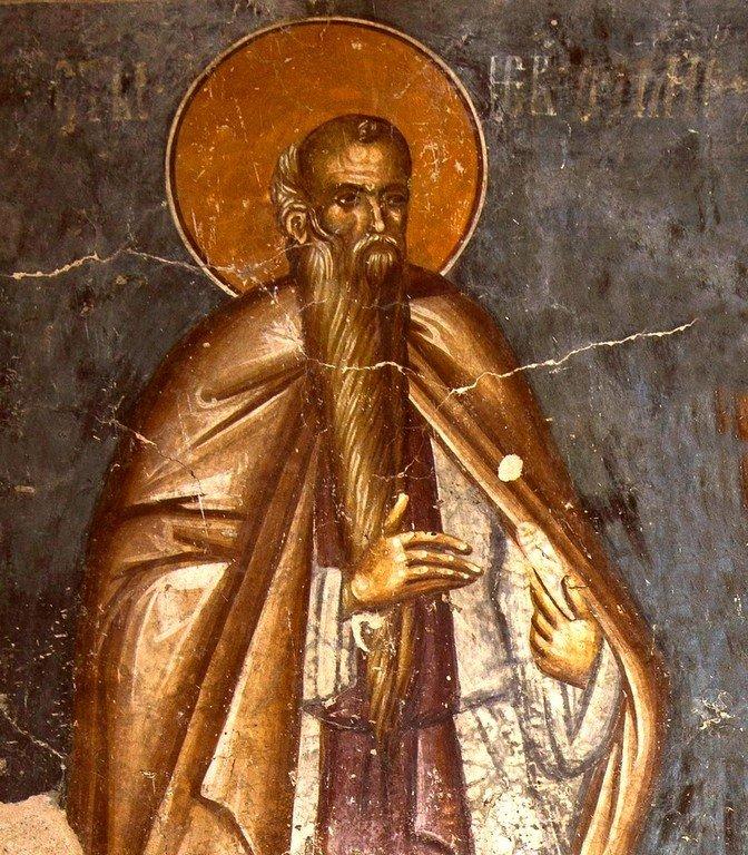 Святой Преподобный Евфимий Великий. Фреска церкви Богоматери Одигитрии в монастыре Печская Патриархия, Косово, Сербия. 1330-е годы.