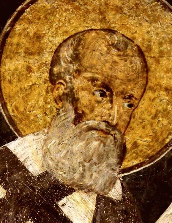 Святитель Григорий Богослов. Фреска церкви Святых Николая и Пантелеимона (Боянской церкви) близ Софии, Болгария. 1259 год.
