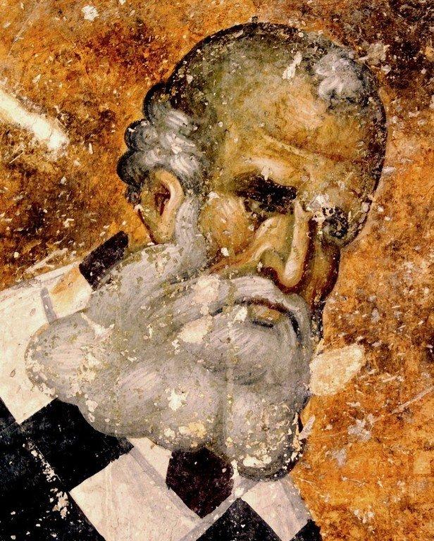 Святитель Григорий Богослов. Фреска церкви Святой Троицы в монастыре Сопочаны, Сербия. 1265 год.