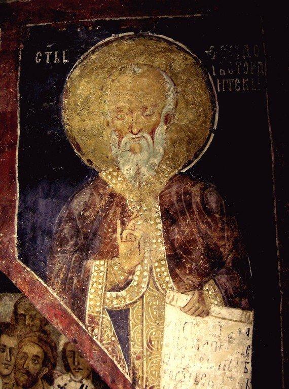 Святой Преподобный Феодор Студит, Исповедник. Фреска церкви Святых Николая и Пантелеимона (Боянской церкви) близ Софии, Болгария. 1259 год.
