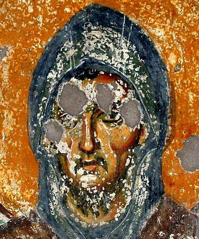 Святой Преподобный Ефрем Сирин. Фреска церкви Святого Ахиллия в Ариле (Арилье), Сербия. 1296 год.