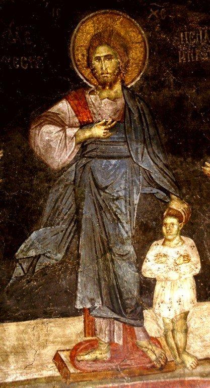 """Господь Иисус Христос благословляет Святого Игнатия Богоносца. Фреска церкви Вознесения Господня (""""Спасов дом"""") в монастыре Жича, Сербия. 1309 - 1316 годы. Фрагмент."""