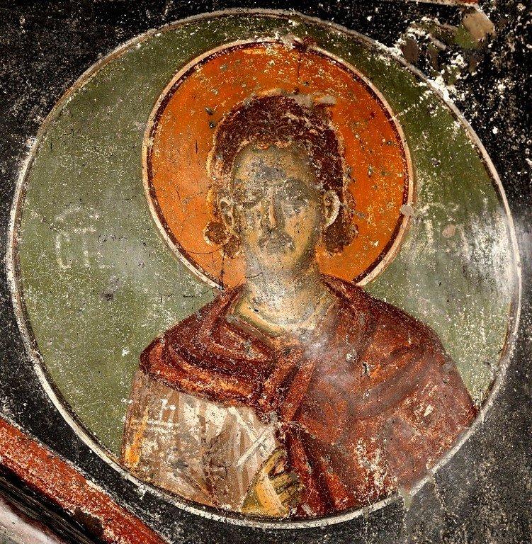 Святой Мученик, Бессребреник и Чудотворец Иоанн. Фреска церкви Святого Ахиллия в Ариле (Арилье), Сербия. 1296 год.