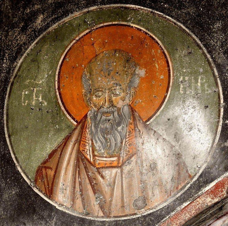 Святой Мученик, Бессребреник и Чудотворец Кир. Фреска церкви Святого Ахиллия в Ариле (Арилье), Сербия. 1296 год.