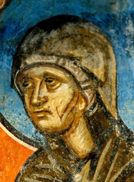 Сретение Господне. Фреска церкви Святого Димитрия в Марковом монастыре близ Скопье, Македония. Около 1376 года. Фрагмент. Святая Праведная Анна Пророчица.