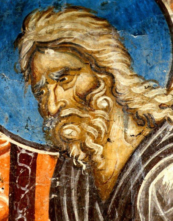 Сретение Господне. Фреска церкви Святого Димитрия в Марковом монастыре близ Скопье, Македония. Около 1376 года. Фрагмент. Святой Праведный Симеон Богоприимец.
