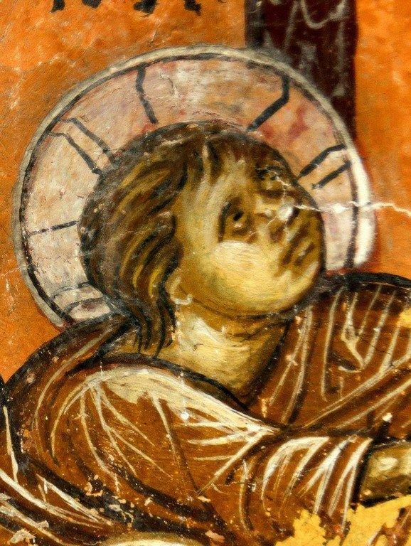 Сретение Господне. Фреска церкви Святого Димитрия в Марковом монастыре близ Скопье, Македония. Около 1376 года. Фрагмент. Лик Богомладенца.
