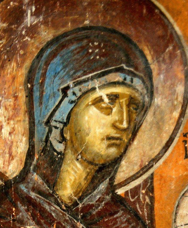 Сретение Господне. Фреска церкви Святого Димитрия в Марковом монастыре близ Скопье, Македония. Около 1376 года. Фрагмент. Лик Пресвятой Богородицы.