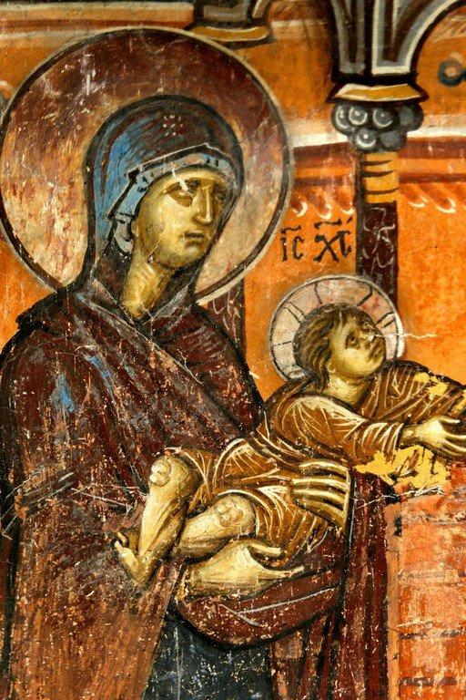 Сретение Господне. Фреска церкви Святого Димитрия в Марковом монастыре близ Скопье, Македония. Около 1376 года. Фрагмент. Пресвятая Богородица с Богомладенцем.