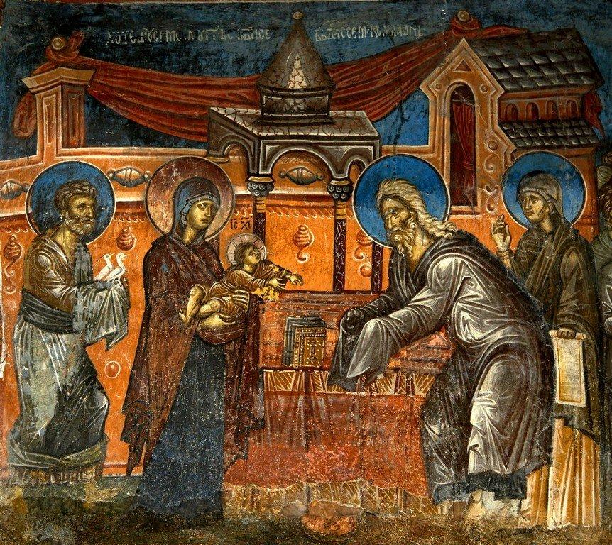 Сретение Господне. Фреска церкви Святого Димитрия в Марковом монастыре близ Скопье, Македония. Около 1376 года.