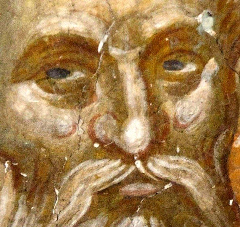 Святой Преподобный Парфений, Епископ Лампсакийский. Фреска церкви Святого Никиты в Чучере близ Скопье, Македония. Около 1316 года. Иконописцы Михаил Астрапа и Евтихий.