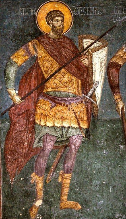 Святой Великомученик Феодор Стратилат. Фреска церкви Богоматери Одигитрии в монастыре Печская Патриархия, Косово, Сербия. 1330-е годы.