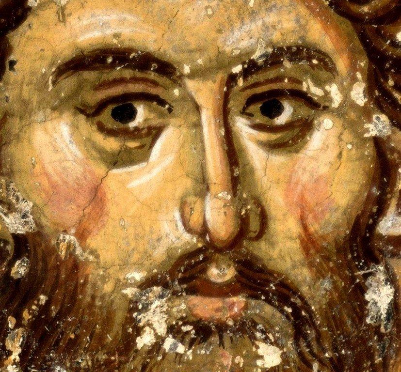 Святой Великомученик Феодор Стратилат. Фреска церкви Святых Апостолов в монастыре Печская Патриархия, Косово, Сербия.