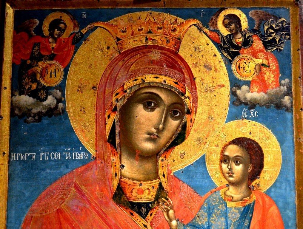 Иверская икона Божией Матери. Болгария, 1815 год. Фрагмент.