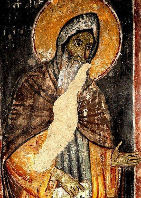 Святой Преподобный Симеон Мироточивый. Фреска церкви Святого Ахиллия в Ариле (Арилье), Сербия. 1296 год.