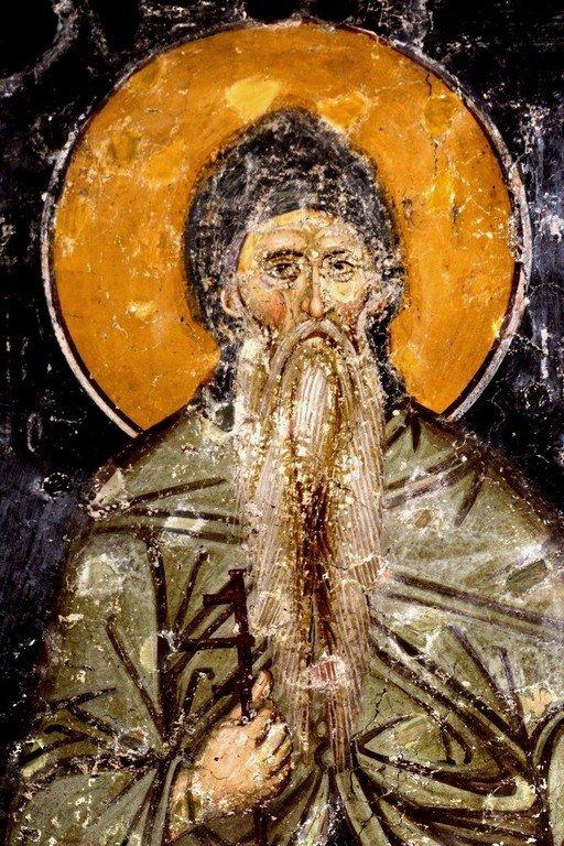 Святой Преподобный Симеон Мироточивый. Фреска церкви Святых Апостолов в монастыре Печская Патриархия, Косово, Сербия. 1260 - 1263 годы.
