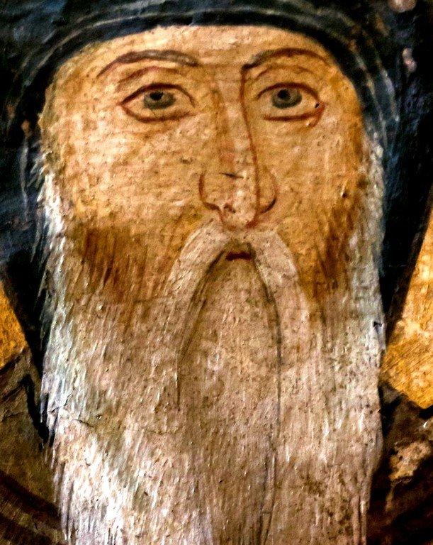 Святой Преподобный Симеон Мироточивый. Фреска монастыря Высокие Дечаны, Косово, Сербия. Около 1350 года.