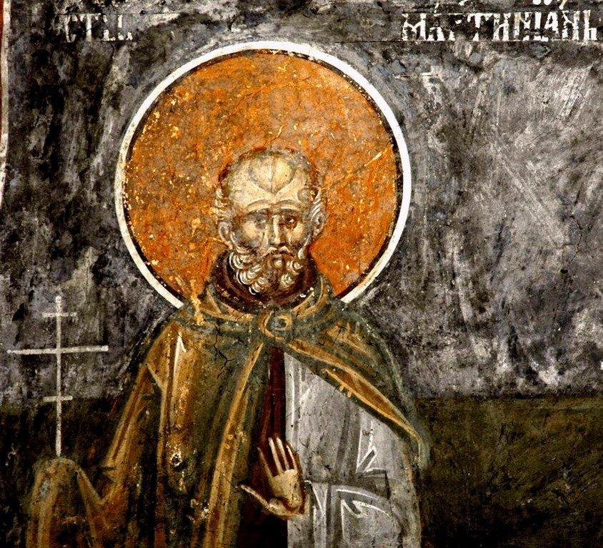 Святой Преподобный Мартиниан Кесарийский. Фреска притвора монастыря Печская Патриархия, Косово, Сербия. XVI век.