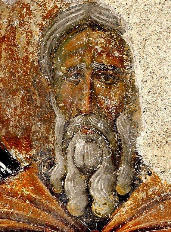 Лик Преподобного. Фреска церкви Вознесения Господня в монастыре Милешева (Милешево), Сербия. XIII век.