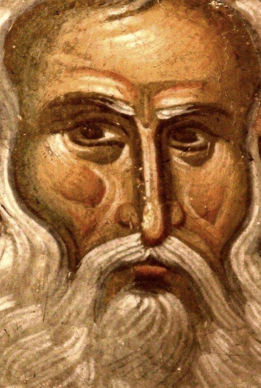 Лик Преподобного. Фреска монастыря Высокие Дечаны, Косово, Сербия. Около 1350 года.