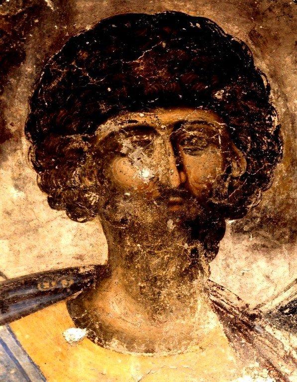 Святой Великомученик Феодор Тирон. Фреска церкви Святой Троицы в монастыре Манасия (Ресава), Сербия. До 1418 года.