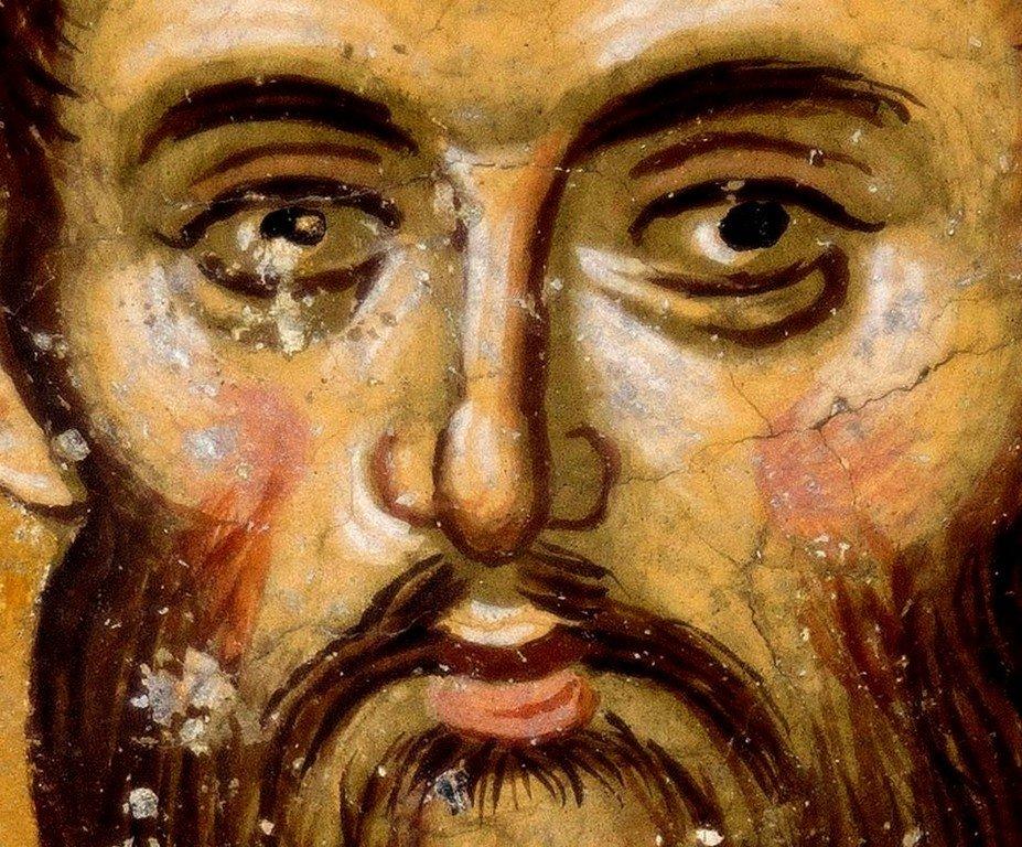 Святой Великомученик Феодор Тирон. Фреска церкви Святых Апостолов в монастыре Печская Патриархия, Косово, Сербия. 1260 - 1263 годы.