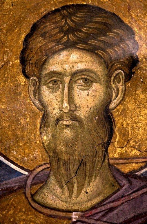 Святой Великомученик Феодор Тирон. Фреска монастыря Высокие Дечаны, Косово, Сербия. Около 1350 года.