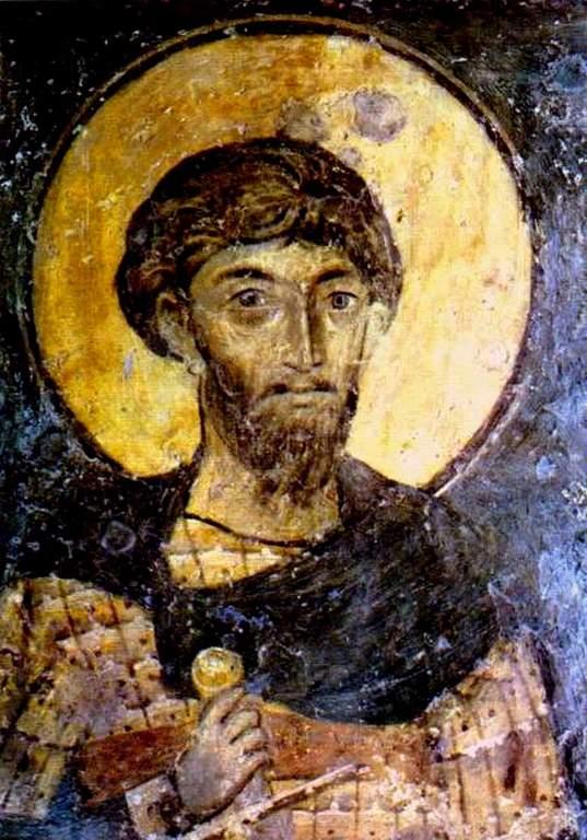 Святой Великомученик Феодор Тирон. Фреска церкви Святых Николая и Пантелеимона (Боянской церкви) близ Софии, Болгария. 1259 год.