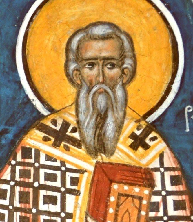 Святитель Тарасий, Патриарх Константинопольский. Фреска монастыря Молдовица, Румыния. XVI век.