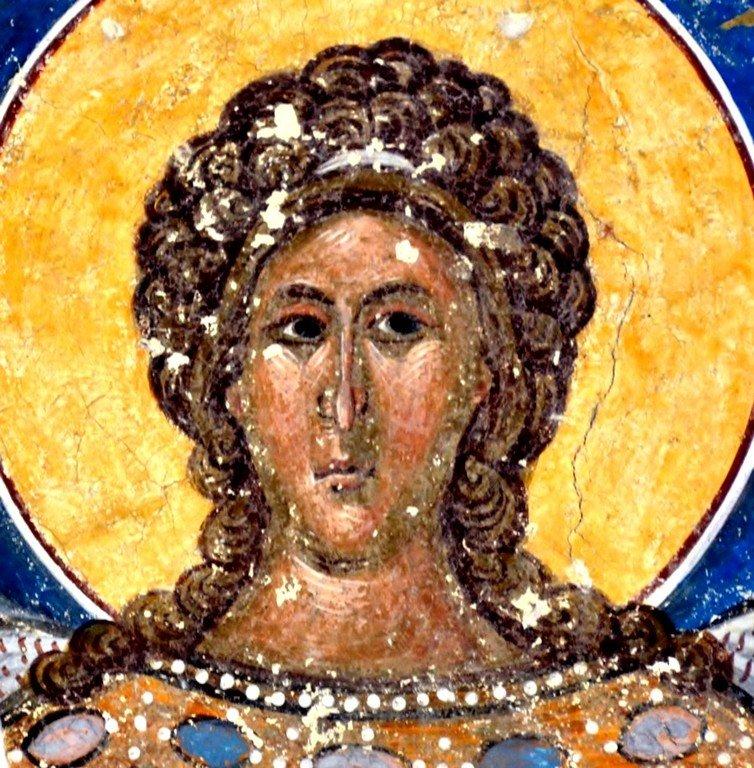 Ангел Господень. Фреска монастыря Хумор, Румыния. XVI век.