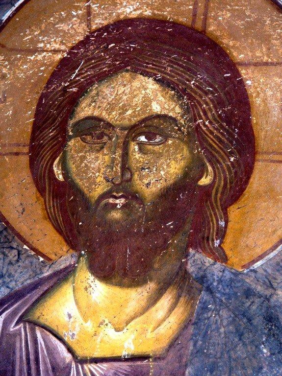 Лик Спасителя. Фреска монастыря Трескавац (Трескавец), Македония. XIV век.