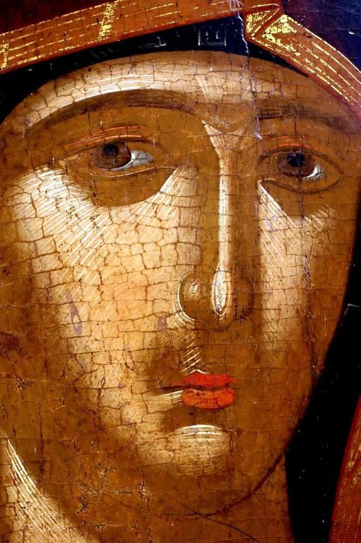 Лик Пресвятой Богородицы. Фрагмент иконы. Албания.