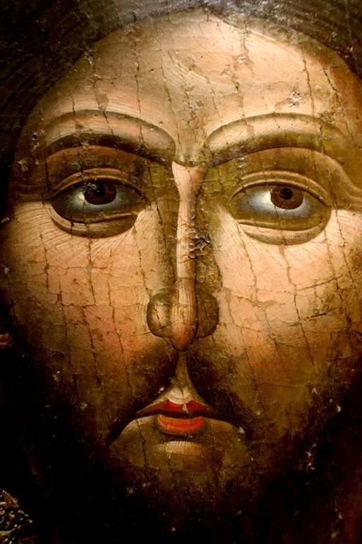 Лик Спасителя. Фрагмент албанской иконы.