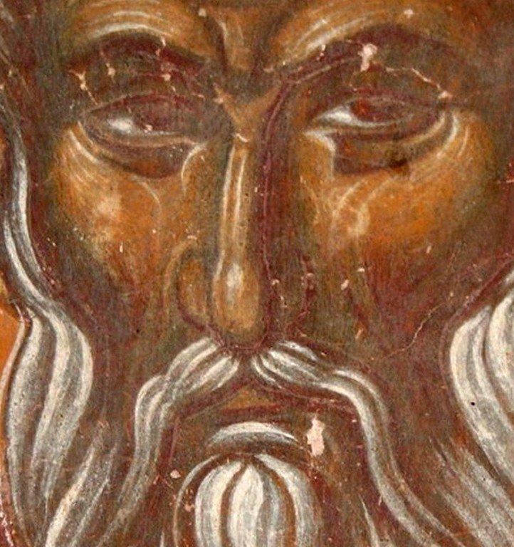 Святой Преподобный Павел Препростый. Фреска монастыря Трескавац (Трескавец), Македония. XIV век.