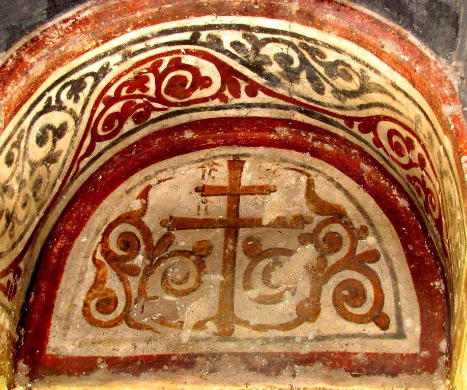 Святой Крест. Фреска церкви Святого Ахиллия в Ариле (Арилье), Сербия. 1296 год.